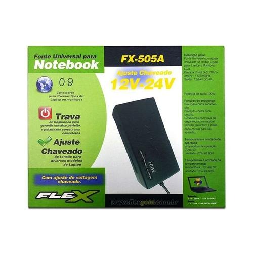 Carregador Universal para Notebook 100W, 9 conectores - FX-505A