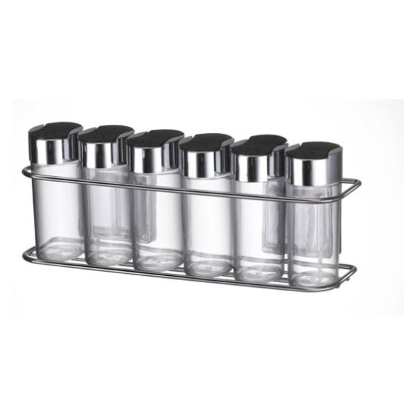 Conjunto Porta Condimentos p/Parede Inox 6 Peças- ARTHI