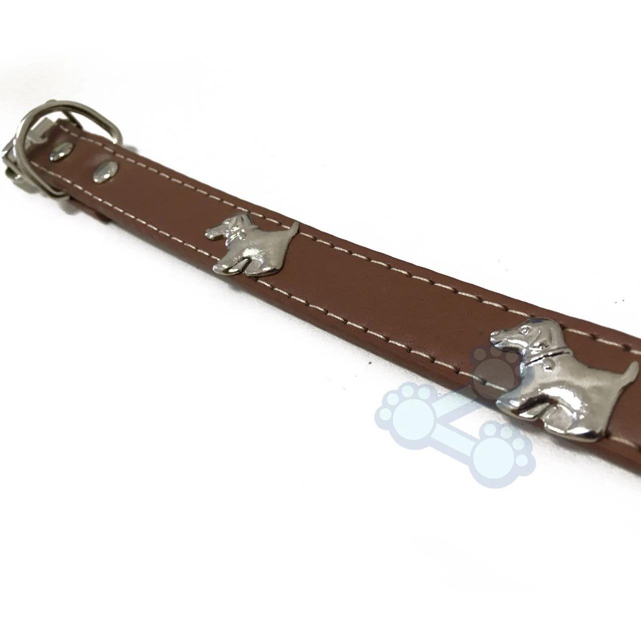 Coleira para Pets Couro 1.4X34cm