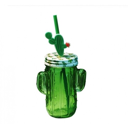 Copo de Vidro com Canudo Modelo Cactus 410ml Vitrizi - Yangzi