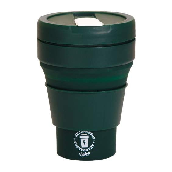 Copo Retrátil Recarregue 375 ml cor: verde Corpo silicone Tampa  plástico Uatt