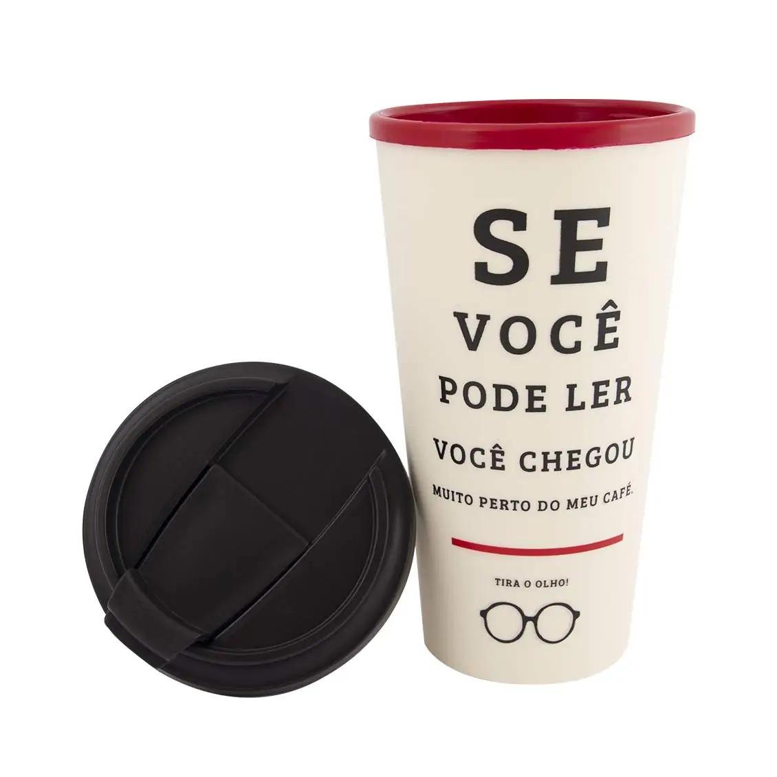 Copo Viagem 500ml De Olho no Café  Cor: Bege com tampa na cor preta Uatt