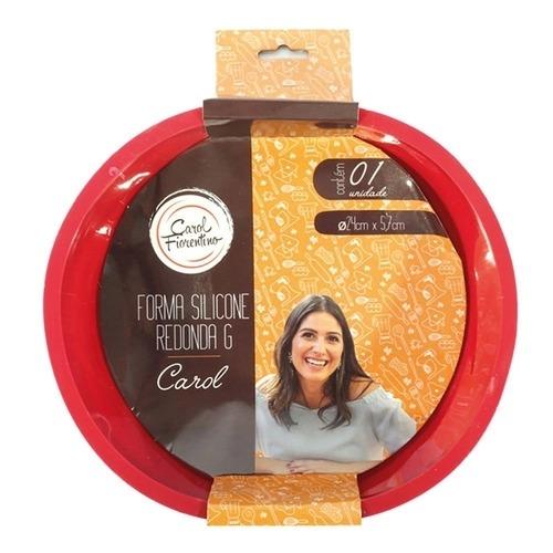 Forma Silicone Redonda G Vermelha 24cm - Carol Fiorentino - Yazi