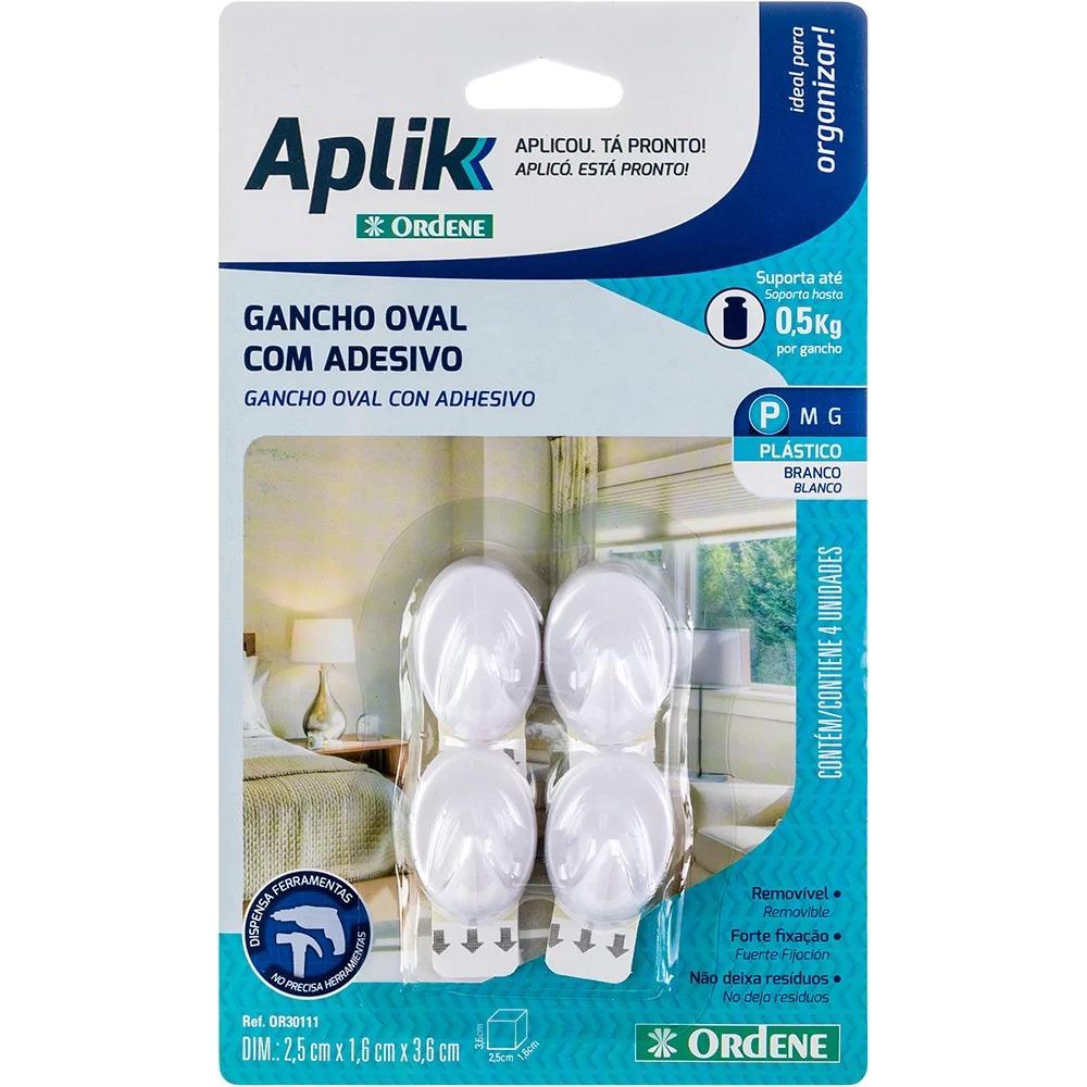 Gancho adesivo oval pequeno branco Aplik- Ordene- 4 UN