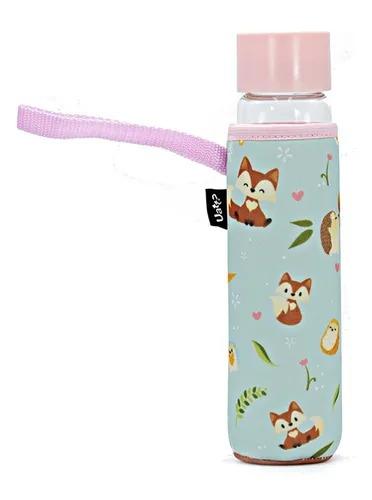 Garrafa De Vidro modelo Raposa com tampa rosa - Uatt