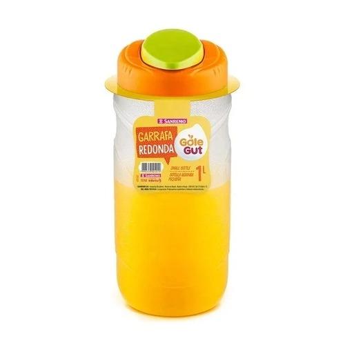 Garrafa Redonda 1 Litro transparente com tampa laranja - Sanremo