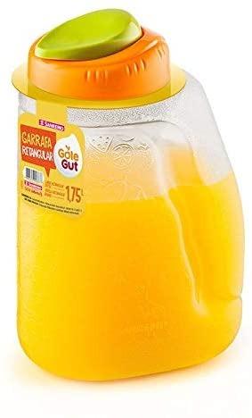 Garrafa Retangular 1,75l Transparente com tampa laranja -  Sanremo