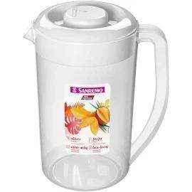 jarra Para Água 3,8 Litros San Remo cor: Transparente com Tampa branca