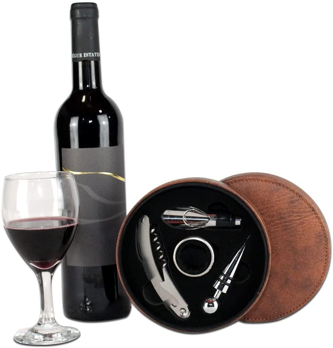 Kit de Vinho com 04 Peças em Estojo Sintético - Uny Home