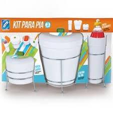 Kit para Pia com 3peças branco com azul Arthi
