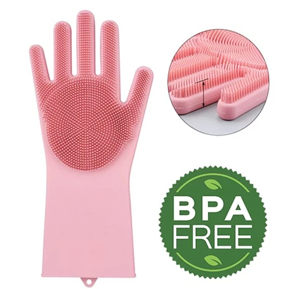 luva de silicone lava louças na cor rosa - Mundiart