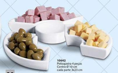 Petisqueira 4 Peças Cerâmica Porto Seguro Cor: Branco