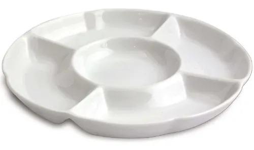 Petisqueira Redonda 5 Divisões Cerâmica Porto Seguro cor: Branco