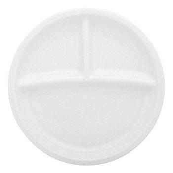 Petisqueira Redonda 3 Divisões Cerâmica Porto Seguro cor: Branco