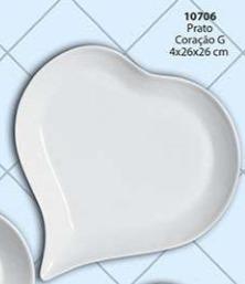 Prato Coração Tamanho: G Cerâmica Porto Seguro Cor: Branca