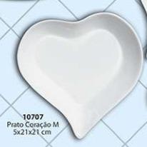 Prato Coração Tamanho: M Cerâmica Porto Seguro Cor: Branca