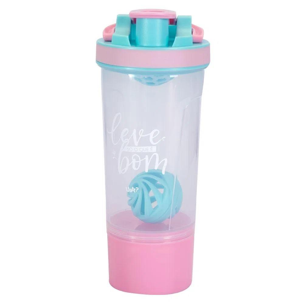 Shakeira Pote Leve Só O Que É  Bom 950 ML COR: Transparente com tampa rosa e azul bebê acompanha uma bola para misturar Uatt
