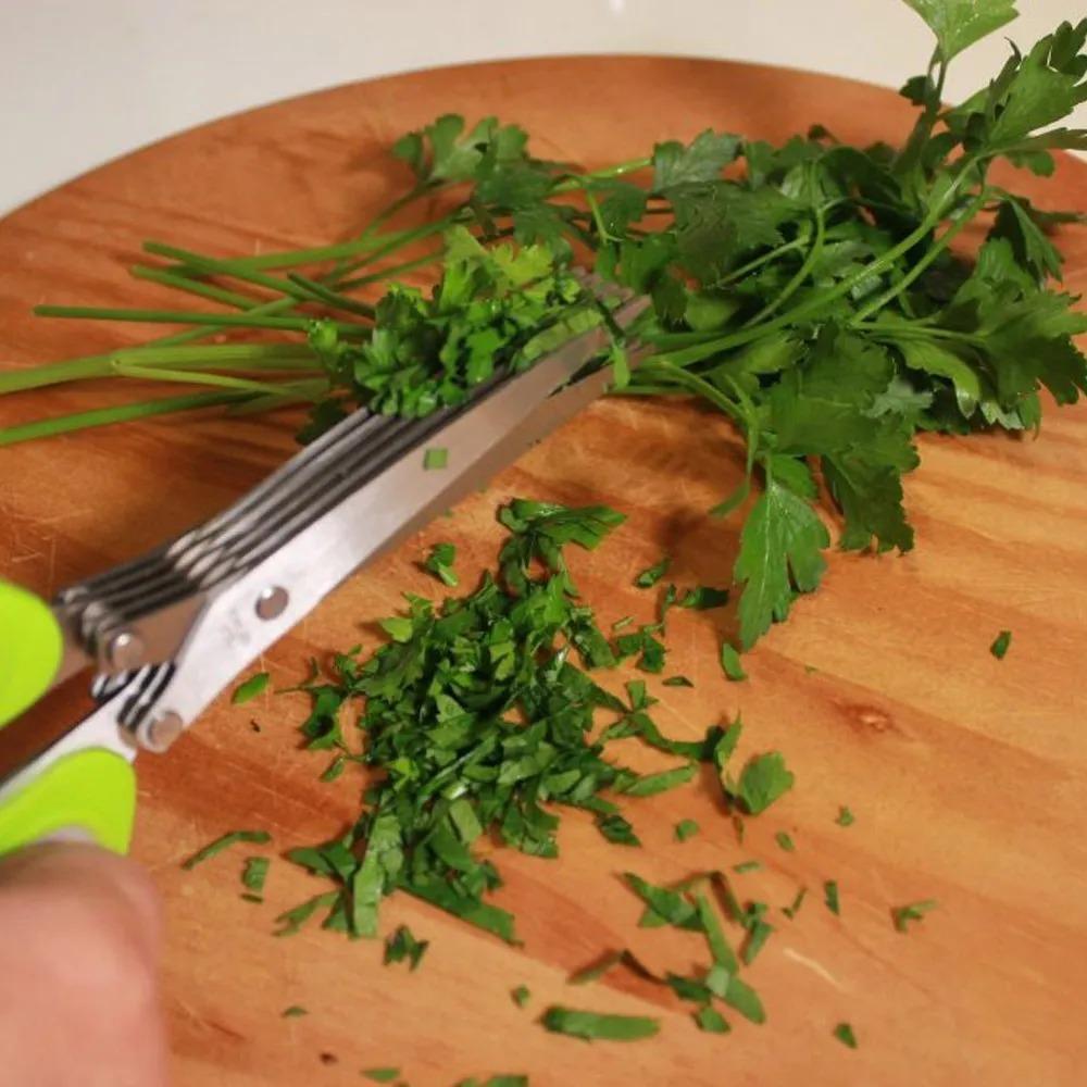 Tesoura P/ Picar Alimentos, Temperos e Ervas com 5 Lâminas em aço Inox na cor verde- Yazi