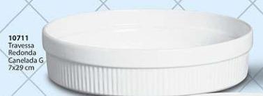 Travessa Redonda Canelada Tamanho: G Cerâmica Porto Seguro cor: Branco