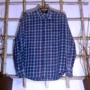 Camisa Masculina Xadrez Azul Marfinno Estado de Nova