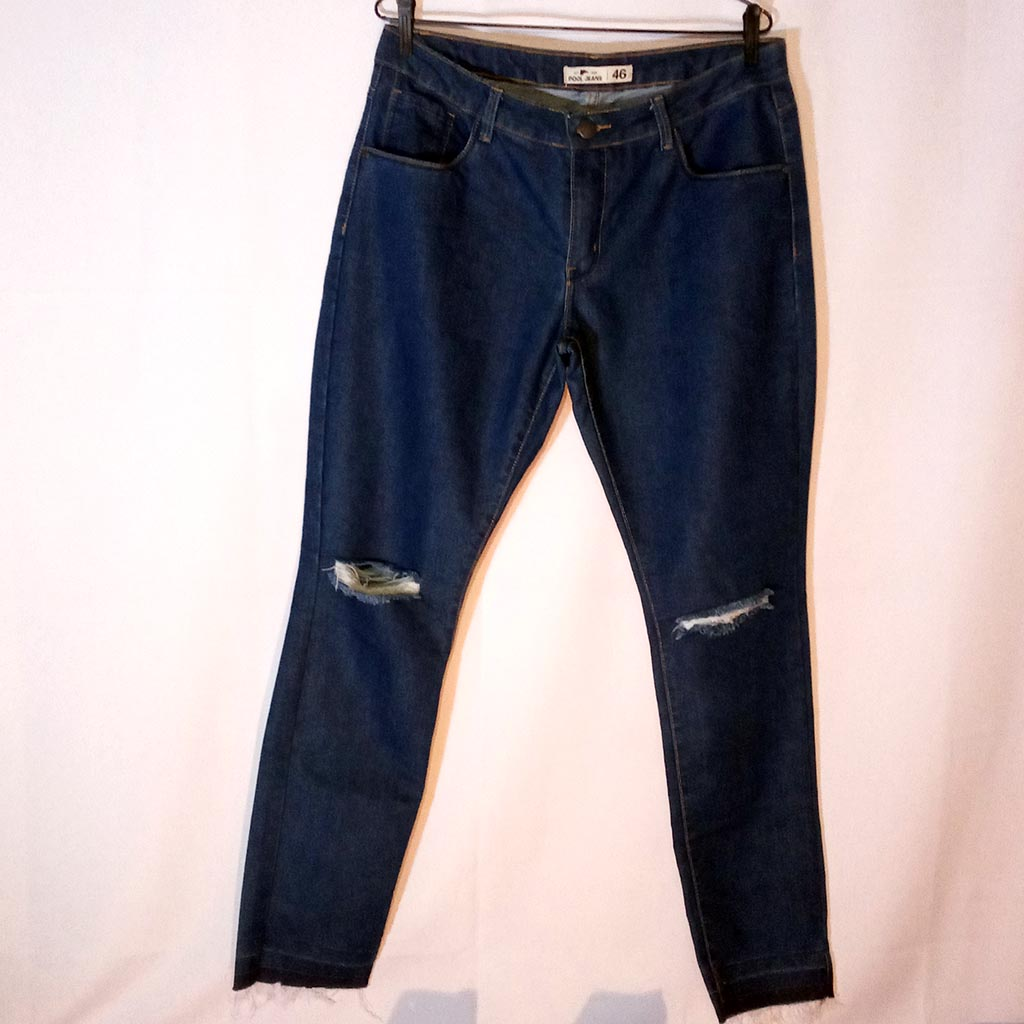 Calça Jeans Feminina Pool Tamanho 46 Rasgada no Joelho