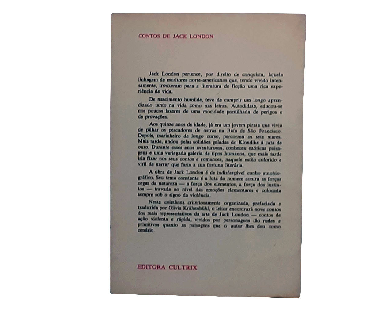 Livro: Contos, de Jack London Brochura Bom Estado Sem Grifos