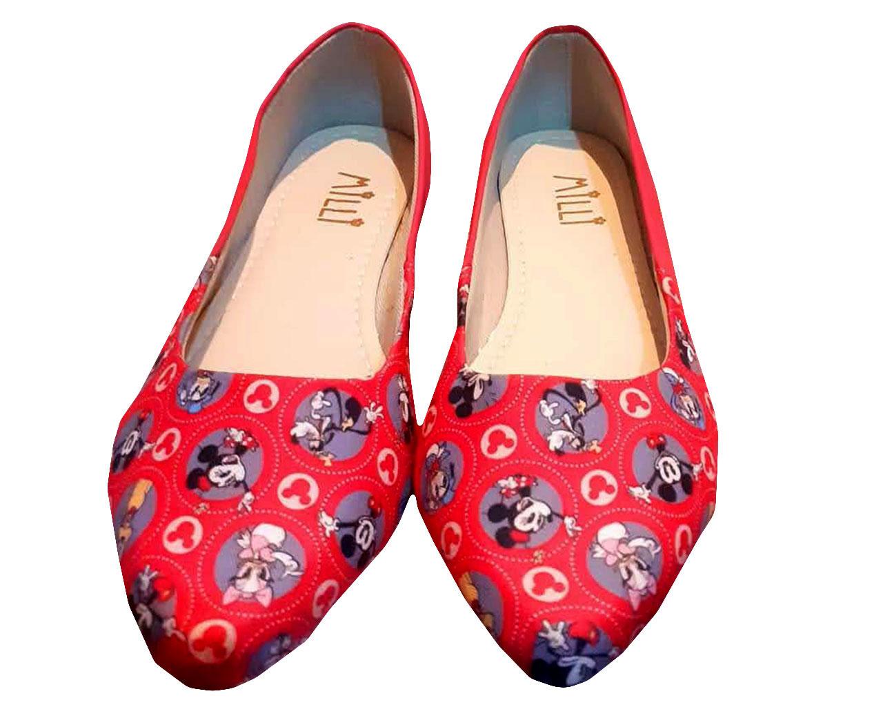 Sapatilha Feminina Estampada Milli Disney Vermelha