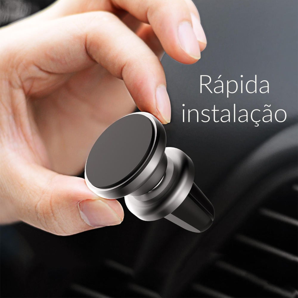 Suporte de carro magnético para celular universal luxo em liga de alumínio Suporte Mania