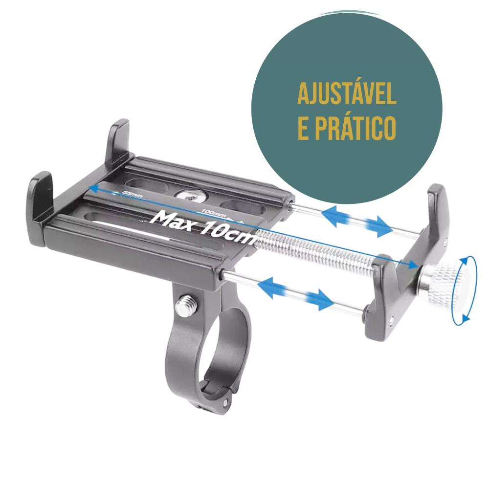 Suporte universal GPS/Celular para Moto/Bike Cinza em Alumínio Suporte Mania ajustável