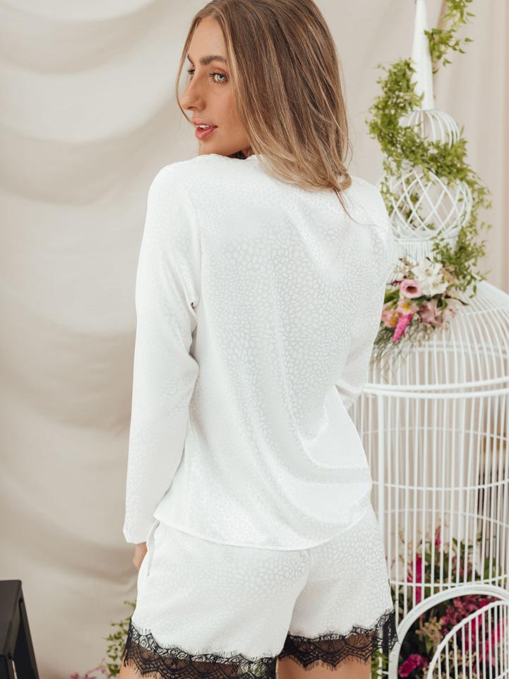Conjunto Pijama Cristal Longo Off White