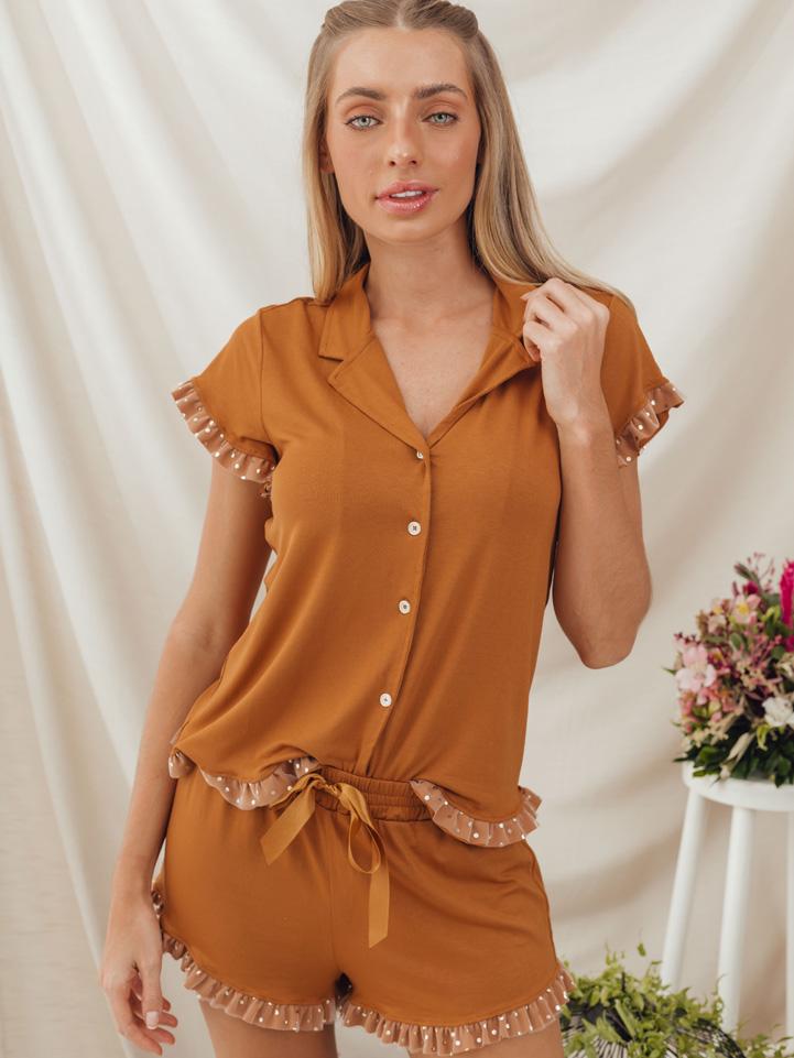 Pijama Colmeia Mostarda