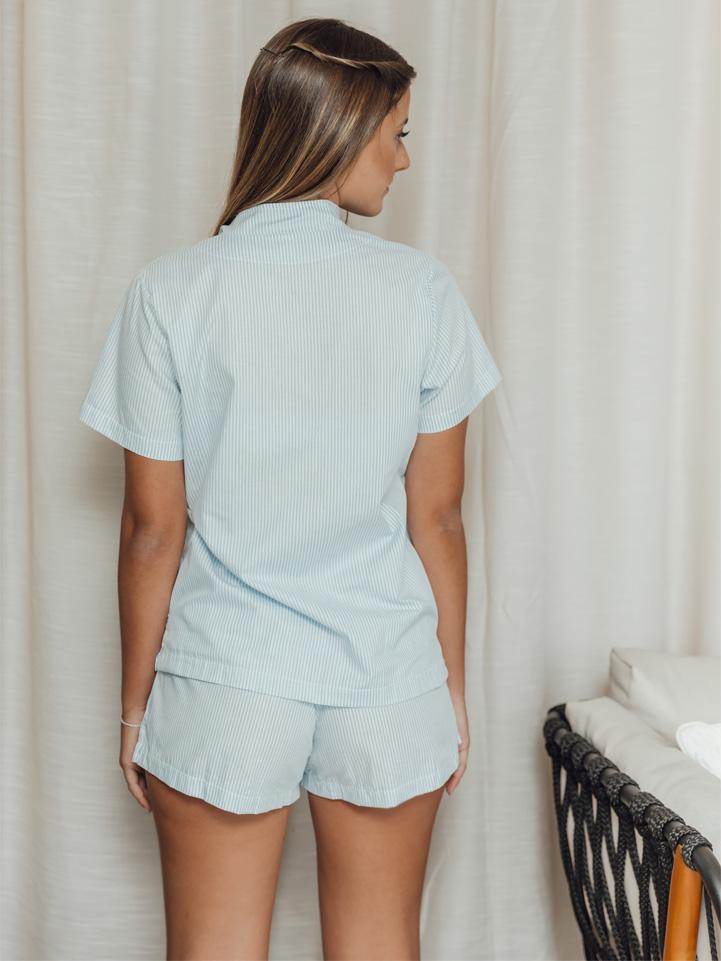 Pijama Erva-doce Azul Listrado