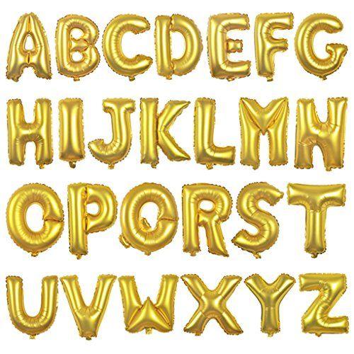 Balão dourado metalizado 80cm LETRA A (pct.10un.)