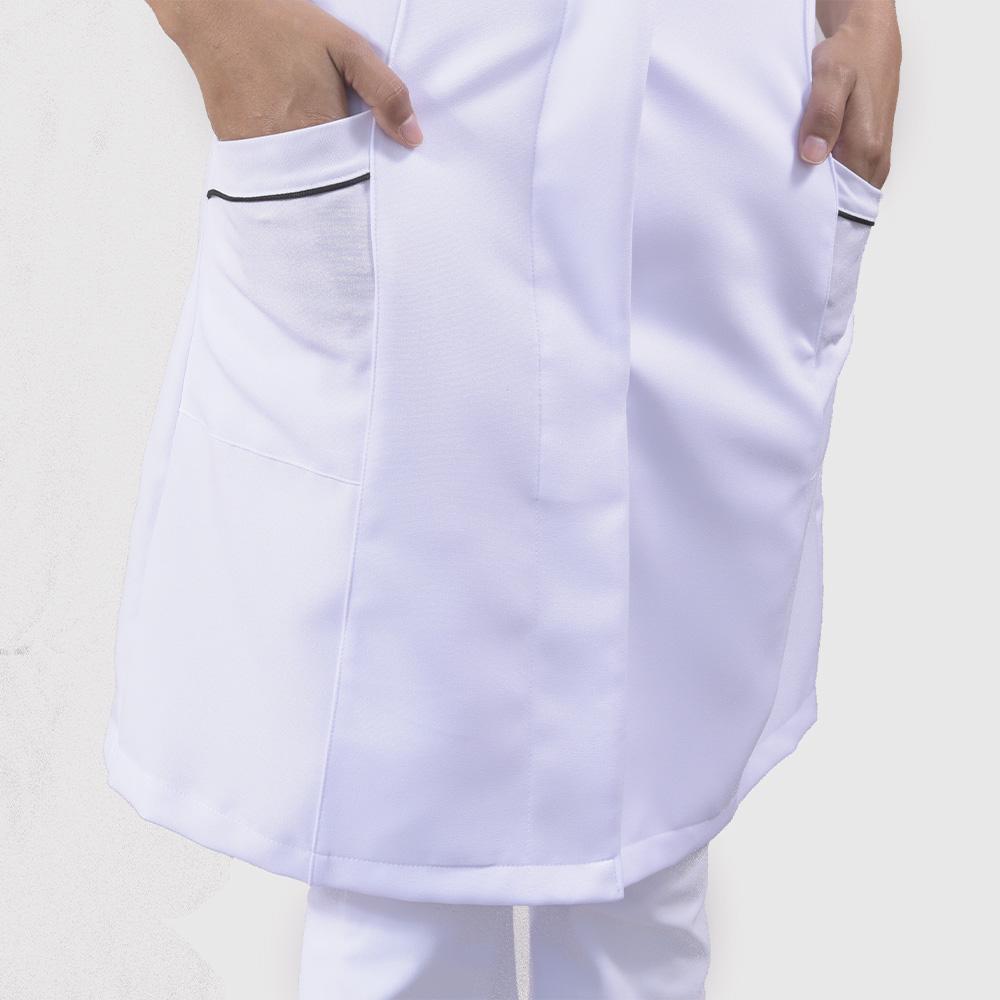 Jaleco Luiza Manga Curta - Branco com Friso Preto