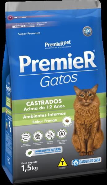 PREMIER GATOS CASTRADOS ACIMA DE 12 ANOS SABOR FRANGO 1,5KG
