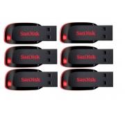 Pendrive Sandisk Cruzer blade 16 Gb kit com 6 unidades