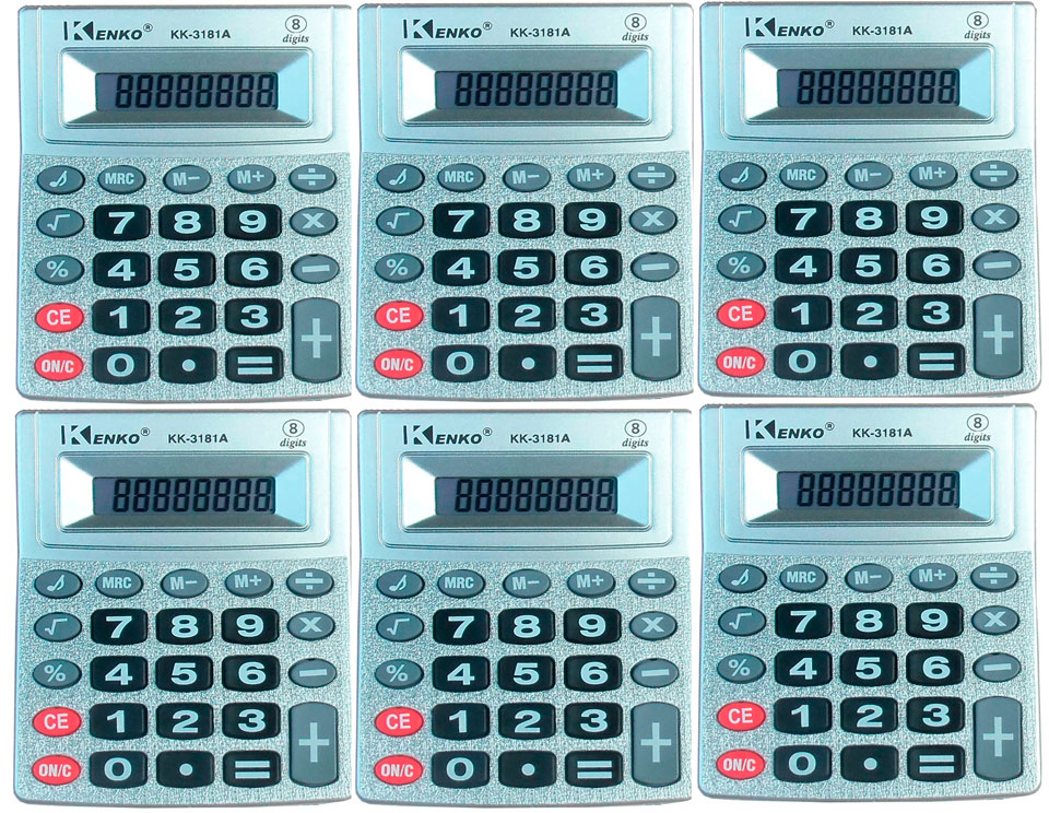 Calculadora 8 digitos kenko kk3181 kit com 5 unidades