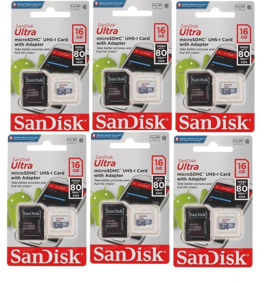 Cartão de memoria Sandisk Ultra 16 Gb 6 unidades