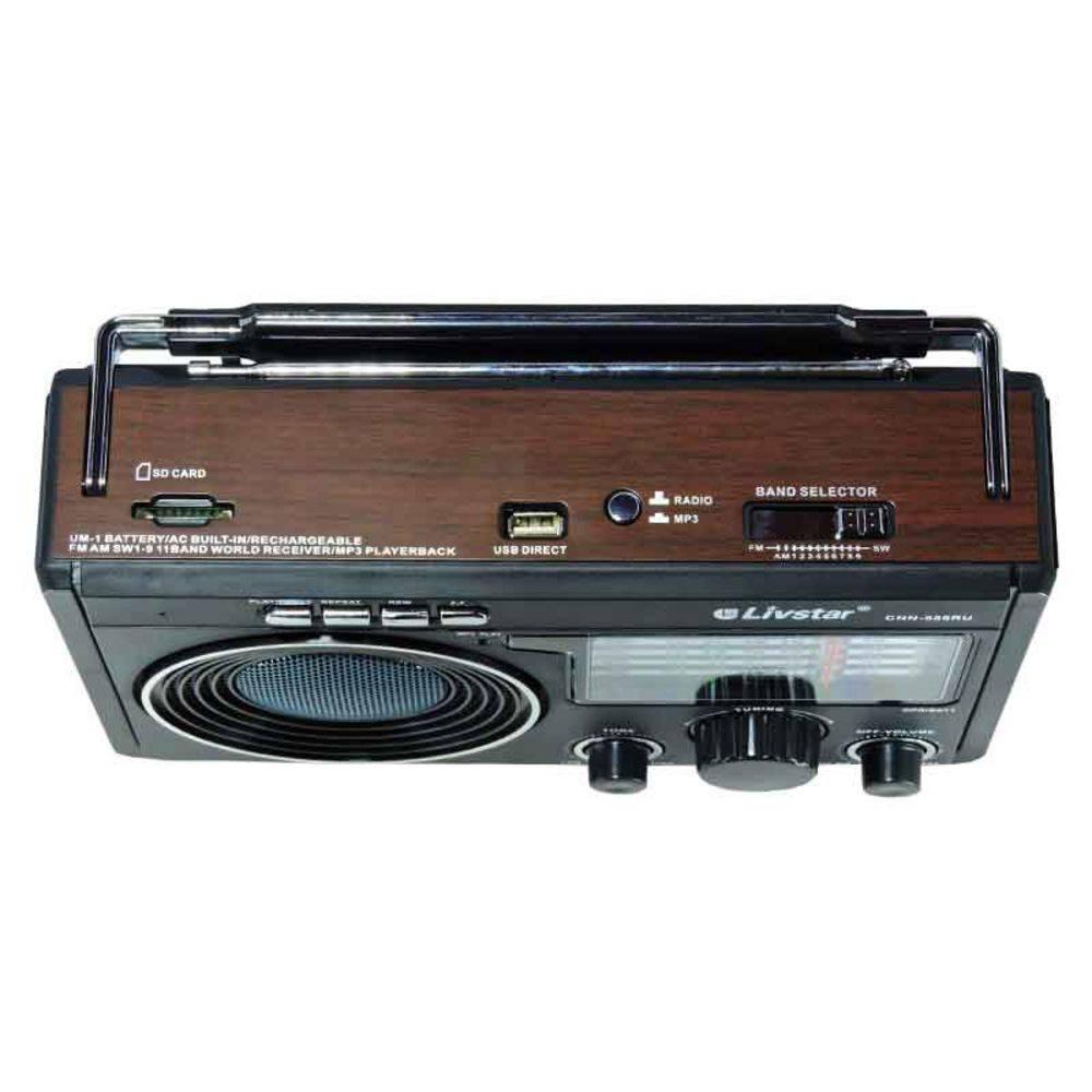 radio Livstar am fm  usb sd pilha  110v 220v recarregavel