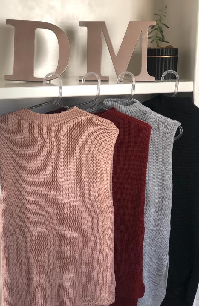 Blusa Gola Alta Modal Sem Manga