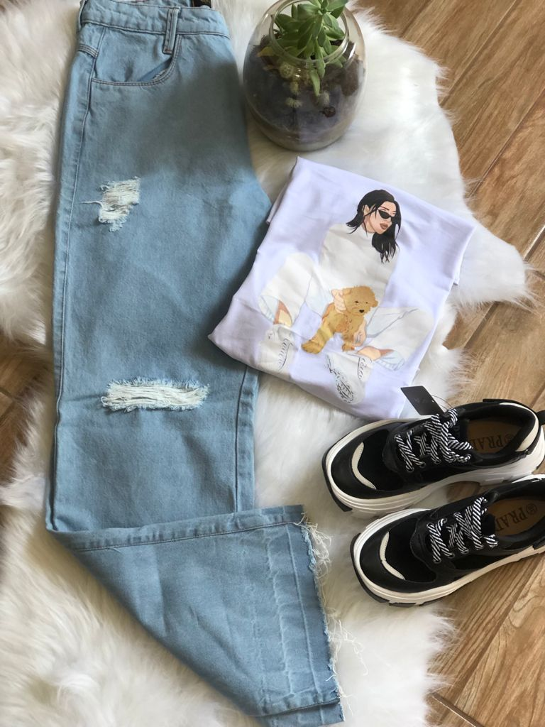 Calça Wide Leg Jeans