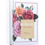 Bíblia Anote Espiral | Letra Média | Floral
