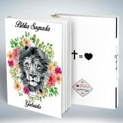 Bíblia Personalizada Com Nome | Leão Floral 2| Frete Grátis