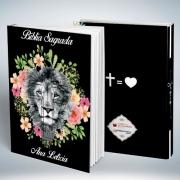 Bíblia Personalizada Com Nome | Leão Floral | Frete Grátis