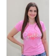 T-shirt Perolada | Gratidão | Rosa