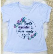 T-shirt Perolada | Santo Espírito És Bem Vindo Aqui | Branca