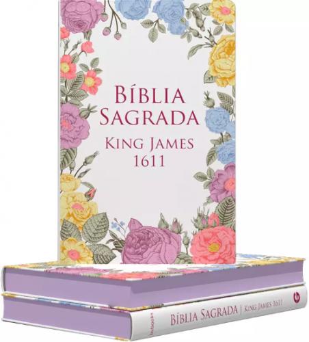 Bíblia Sagrada King James 1611 | Semi-Luxo | Flores Coloridas
