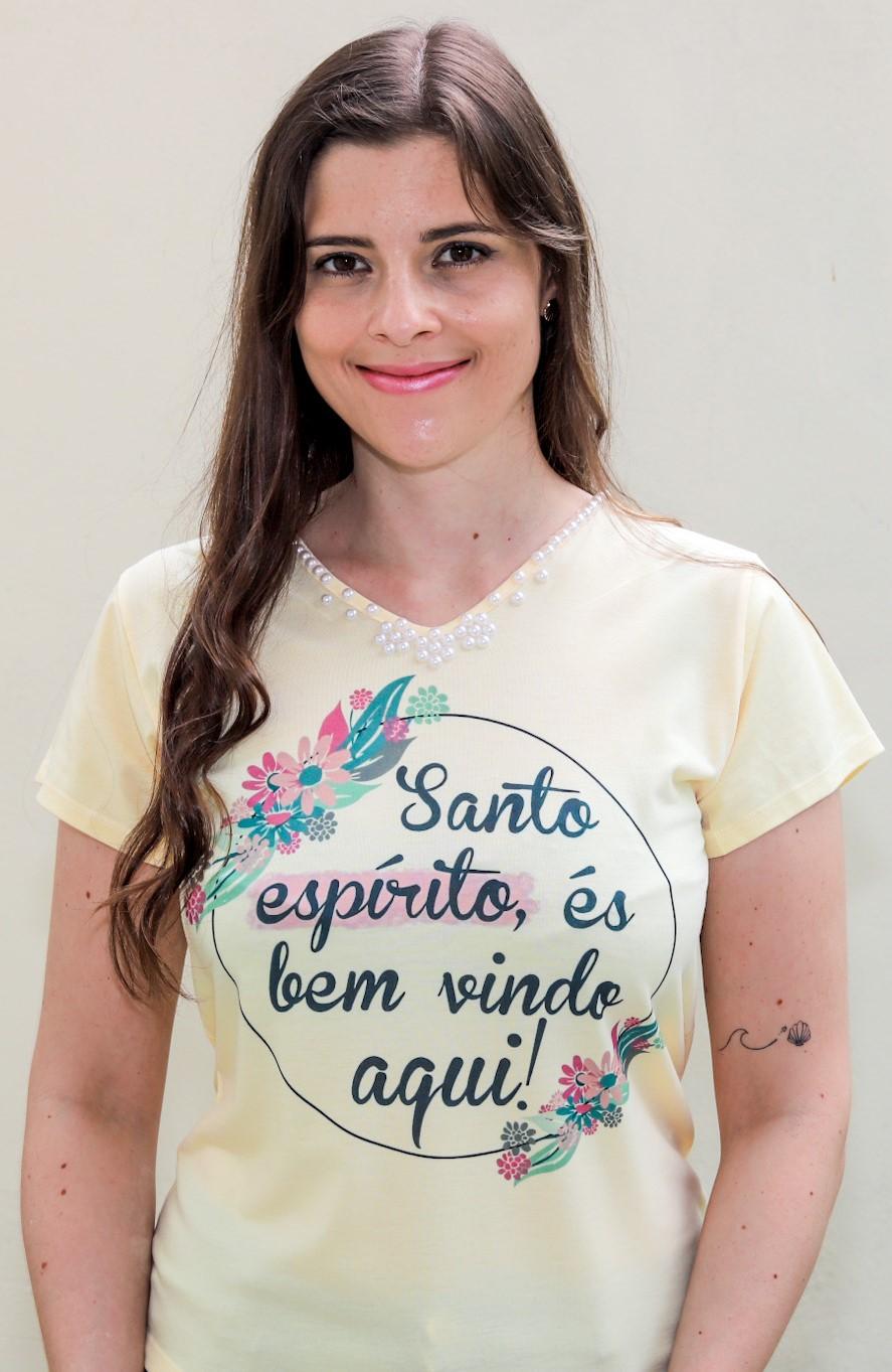 T-shirt Perolada | Santo Espírito És Bem Vindo Aqui | Marfim