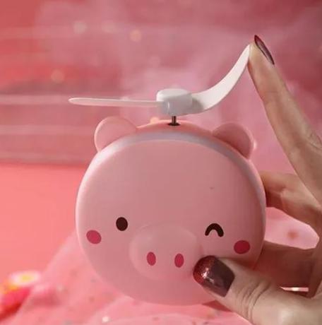 Ventilador Portátil Com Espelho de LED - Porquinho