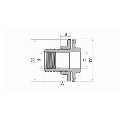 """Adaptador Soldável com Anel para Caixa d'Água 50mm x 1.1/2"""" - Marrom"""